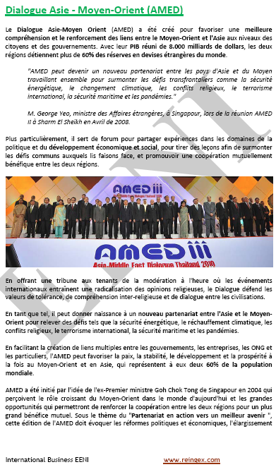 Dialogue Asie - Moyen-Orient (AMED) Cours