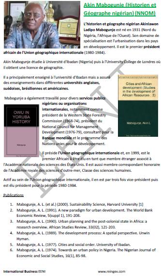 Akin Mabogunje Historiador nigeriano, curso