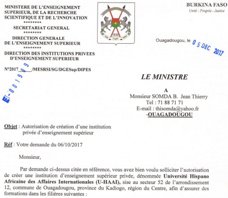 Authorisation to create the Hispano-African University of International Business