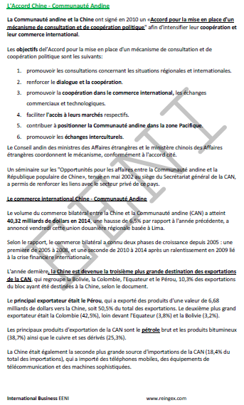 Cours Master : Commerce International Chine-Communauté andine