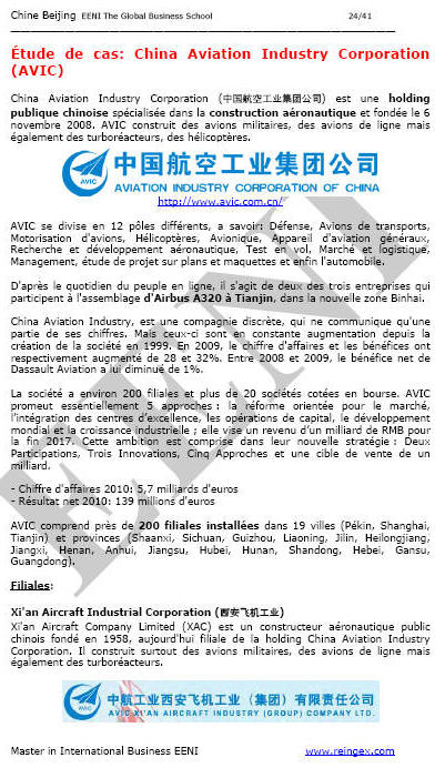 Chine AVIC Aviation