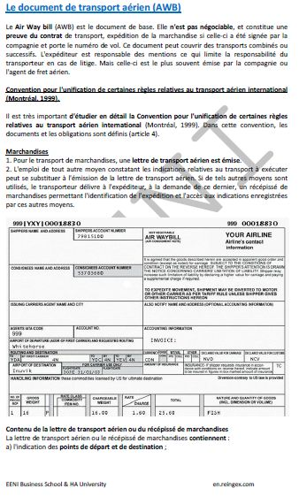 Document de transport aérien (AWB) Cours