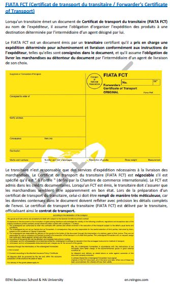 Certificat de transport du transitaire (FIATA FCT), Cours