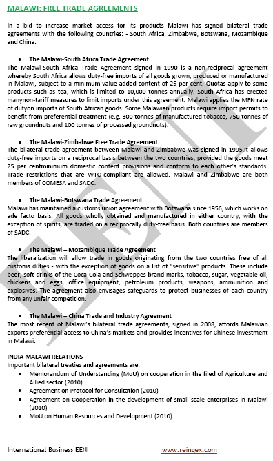 Accord de libre-échanges of Malawi
