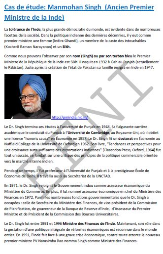 Tolerance sikhs (Manmohan Singh) Cours