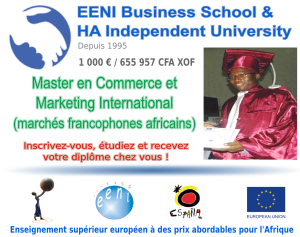 Master en Commerce et Marketing International, marchés francophones africains