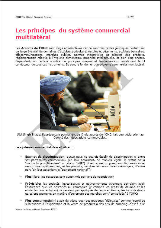 Organisation mondiale du commerce OMC (Master, Doctorat)