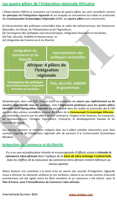 Piliers intégration africaine (Cours Master)