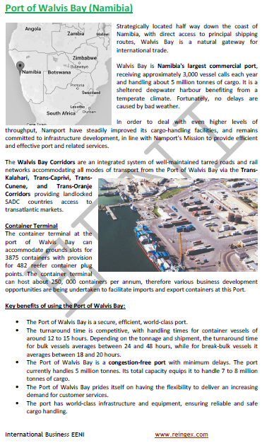 Cours transport : Port de Walvis Bay Namibie