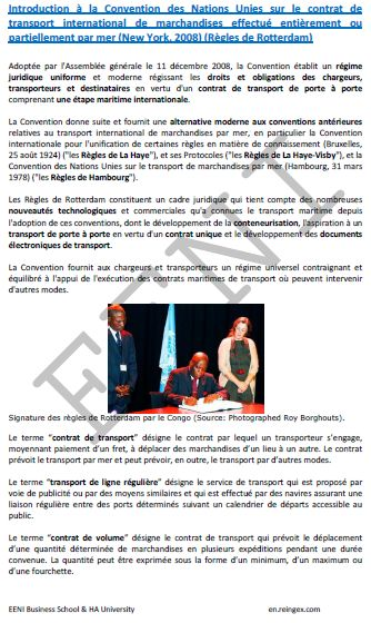 Convention des Nations Unies sur le contrat de transport international de marchandises effectué entièrement ou partiellement par mer (New York, 2008) (Règles de Rotterdam)