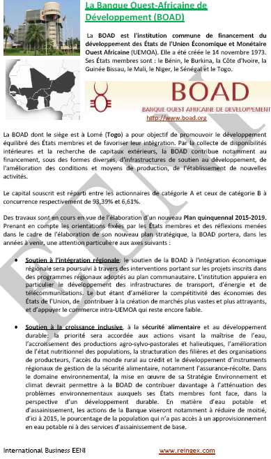 Cours / Master : Banque Ouest-Africaine Développement BOAD
