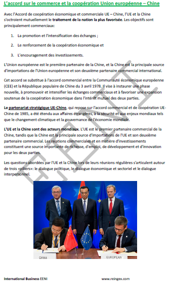 Accord Union européenne Chine