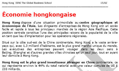 Cours Chine HK